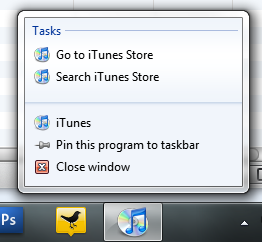iTunes Windows 7 Superbar Jumplists