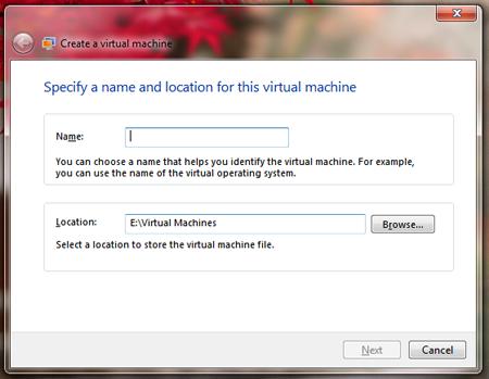 windows virtual pc setting up virtual machine create virtual machine
