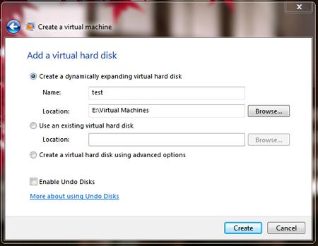 windows virtual pc setting up virtual machine create virtual machine setup virtual hard disk