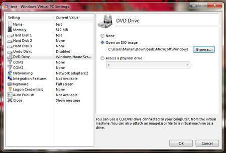 windows virtual pc setting up virtual machine create virtual machine manage system RAM