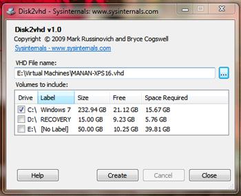 sysinternals disk2vhd download screenshot