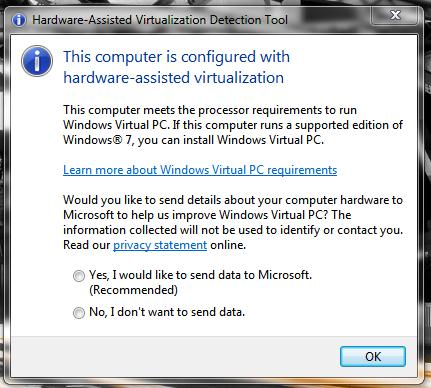 Windows 7 Microsoft Hardware Virtualization tool screenshot